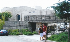 My mother and I in front of the Ennis House, designed by Frank Lloyd Wright